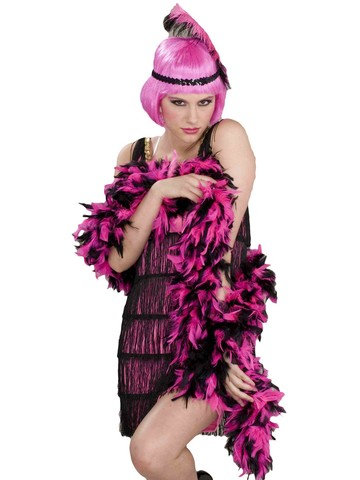 1920's Era: Pink and Black Boa