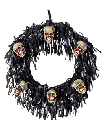 6 Bloody Mini Skull Wreath Halloween Decoration