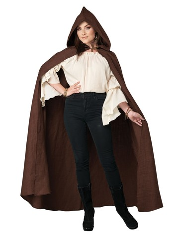 Brown Hooded Cloak for Adult