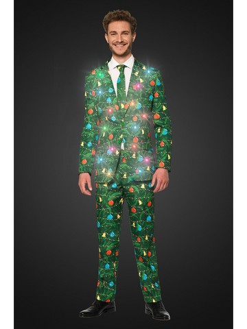 Opposuits Adult Christmas Green Tree Christmas Light Up Suit