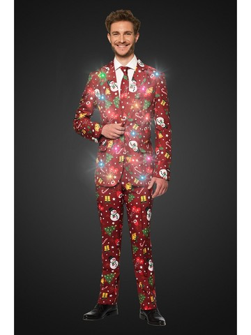 Opposuits Adult Christmas Red Icons Christmas Light Up Suit
