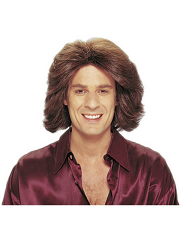 Adult Feathered 1970's Male Brown Wig