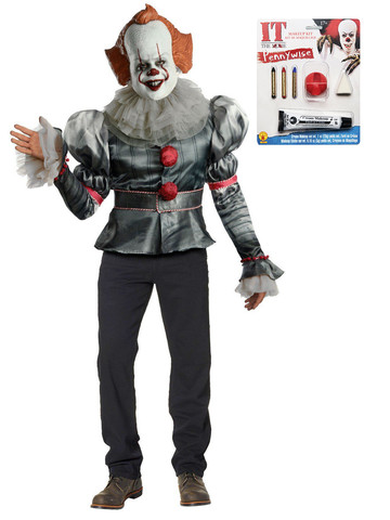 Adult IT Pennywise Clown Deluxe Costume Kit with Makeup