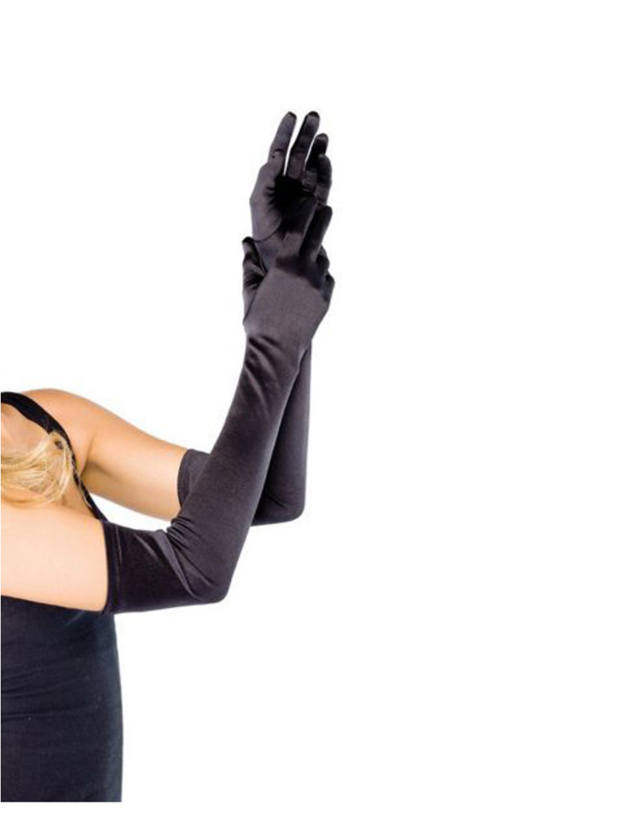 View larger image of Adult Long Black Satin Gloves