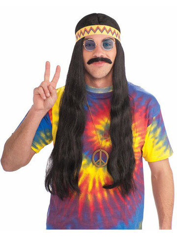 Adult Unisex Hippie Black Wig with Detachable Headband