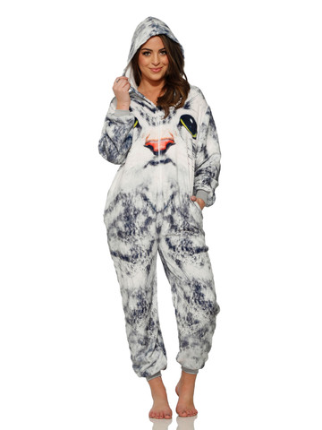 White Face Cat Jumpsuit Costume for Adult