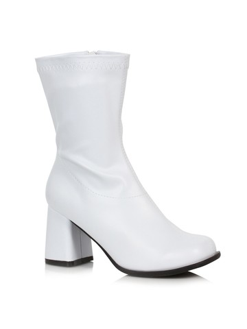 White Mid Calf Patent Gogo Boots for Adult