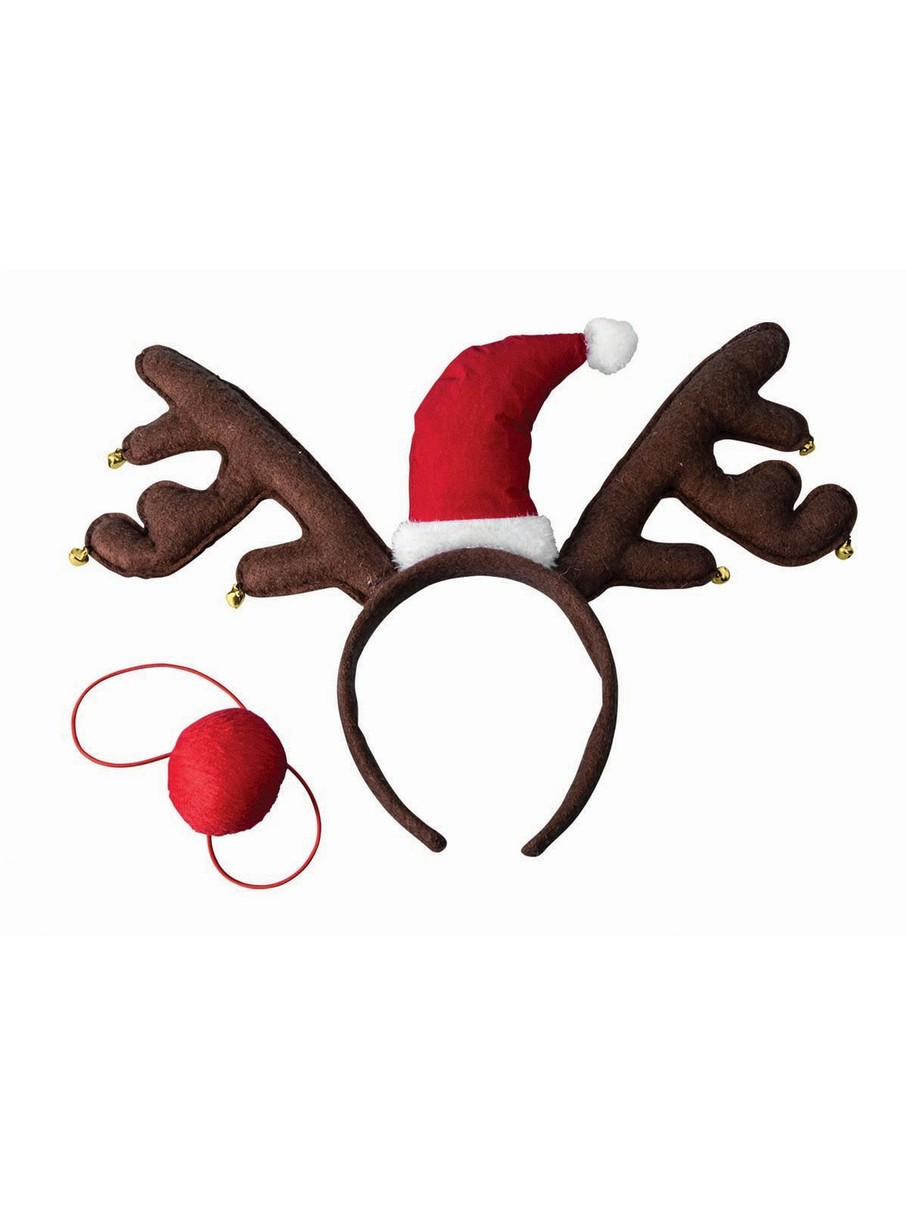View larger image of Reindeer Antler Headband and Nose Set