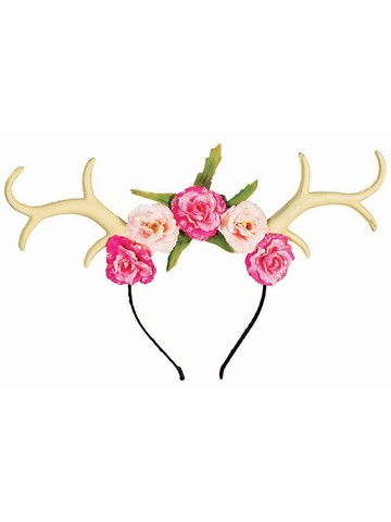 Adult Antlers With Flowers Accessory