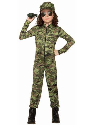 Child Army Girl With Hat Costume