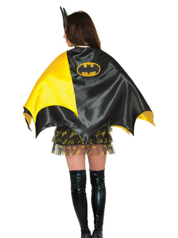 Batgirl Deluxe Cape Black Yl Costume Accessory