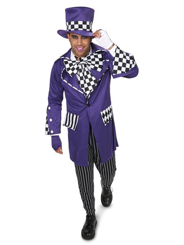 Black and Purple Gothic Checkered Adult Costume