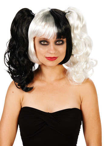 Black and White 3 Piece Removable Pony Tails Adult Wig
