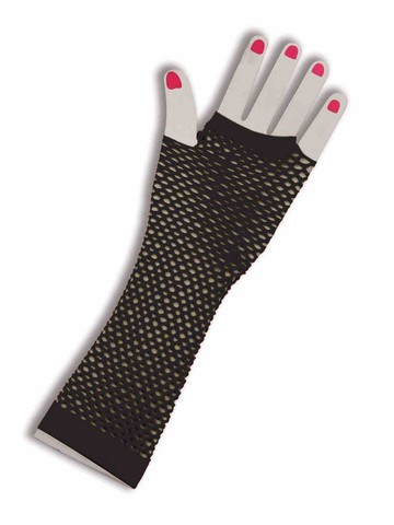 80's Fingerless Fishnet Gloves in Black