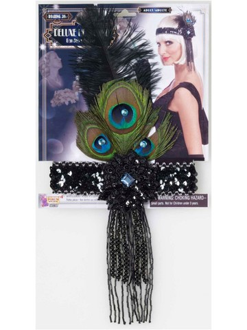 Adult Black Flapper Headband With Peacock Feathers