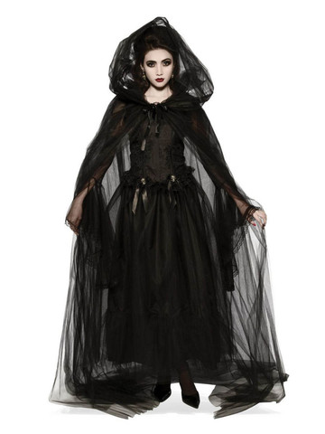 Hooded Black Cape Costume Accessory