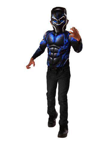M/C Black Panther Battle Blue Shirt Set Costume