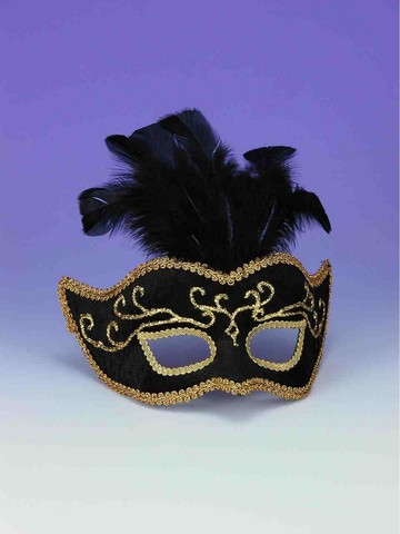 Black with Gold Trim Half Mask with Feathers