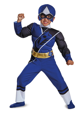 Kids Blue Ranger Ninja Steel Muscle Costume