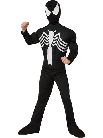 Boys Black Spider-Man Muscle Chest Child Costume