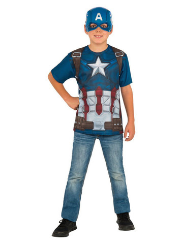 Captain America Costume Top for Boys