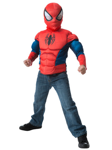 Boys Spider-Man Muscle Chest Shirt and Mask Set