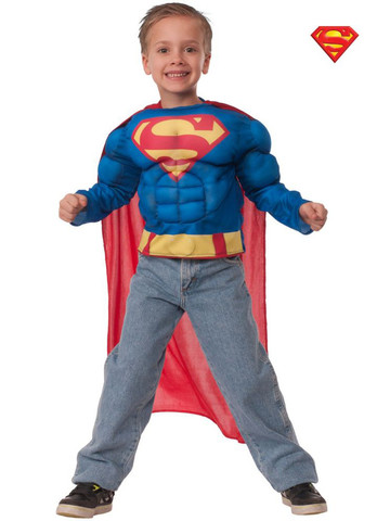 Boys Superman Muscle Chest Shirt Costume