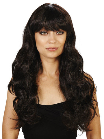 Brunette with Bangs Adult Wig
