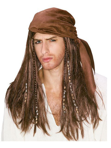 Caribbean Pirate Brown Wig for Adult