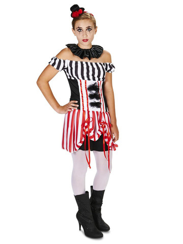 Carn-Evil Vintage Striped Clown Dress Tween Costume