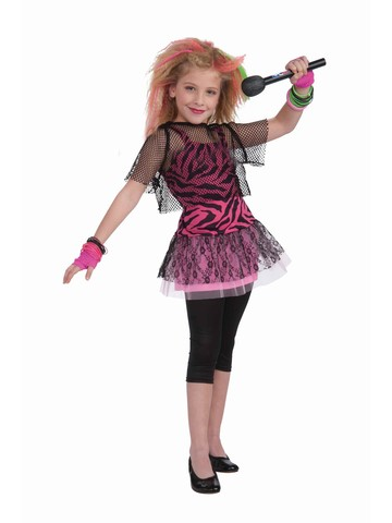 Child 80's Punk Rock Star Girl Costume