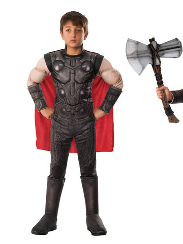 Child Endgame Thor Costume Kit with Stormbreaker Hammer