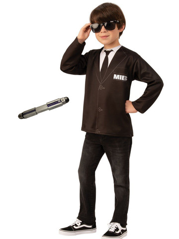 Child Men In Black Costume Kit