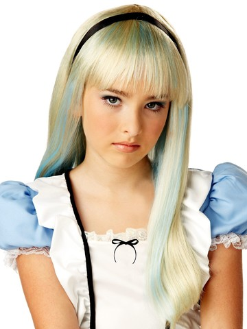 Children's Alice In Wonderland Blonde & Blue Wig