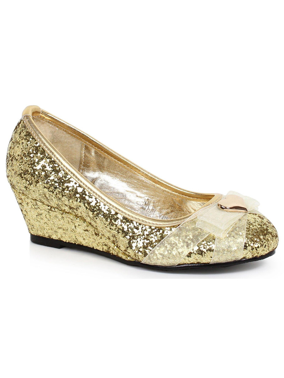 View larger image of Kids Gold Glitter Princess Shoe with Heart Decor
