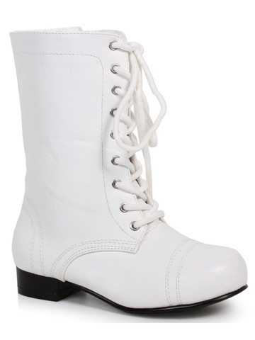 Kids White Ankle Combat Boot