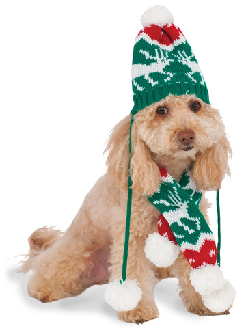 Christmas Knit Pom Pom Hat And Scarf Pet Costume Classic