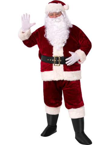 Santa Suit Crimson Imperial Plush Adult Costume