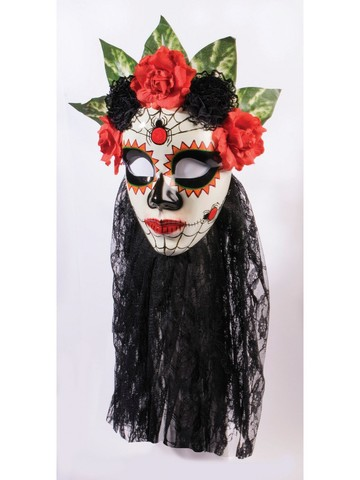 Day of the Dead Black Lace Senora Mask