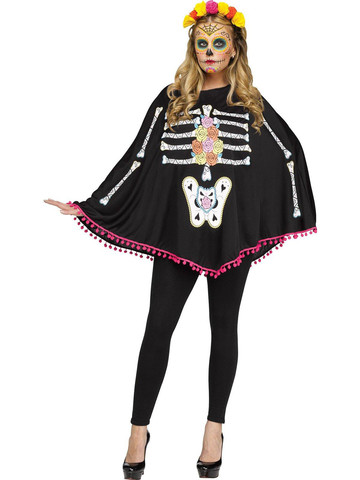 Adult Day of the Dead Poncho Costume