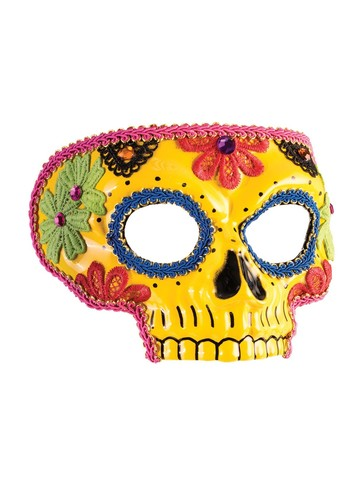 Yellow Day of the Dead Mask for Adults