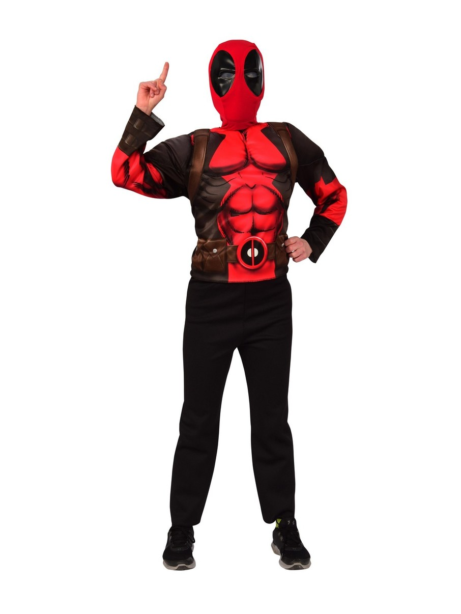 View larger image of Adult Deluxe Deadpool Mask & Costume Top Set