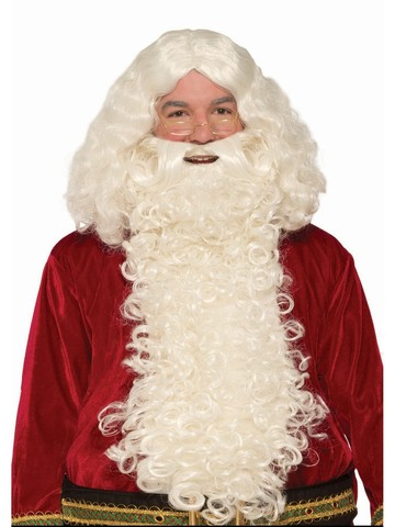 Deluxe Long Santa Beard and Wig Set