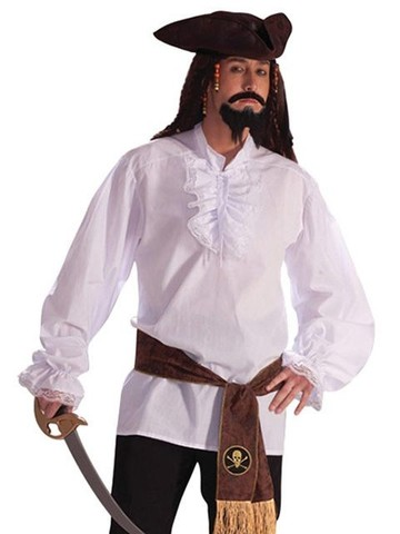 Deluxe Ruffled Shirt with Lace Trim Adult Costume