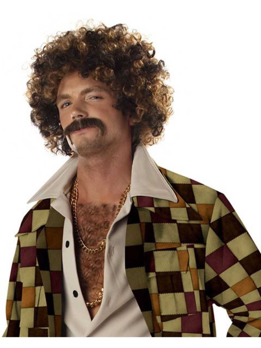 View larger image of Disco Dirtbag Blonde and Brown Wig and Mustache Adult