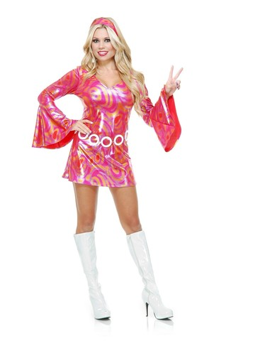 Women's Disco Diva Hot Fuchsia Swirl Costume