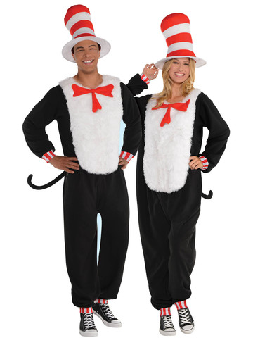 Dr. Seuss Adult Cat in the Hat Jumpsuit Costume