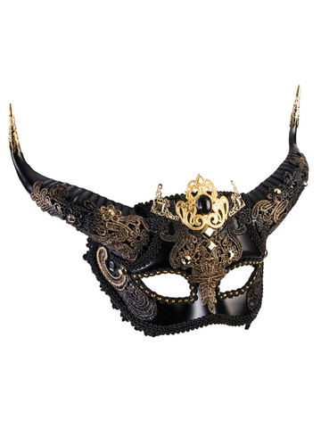 Elegant Faun Black & Gold Mask