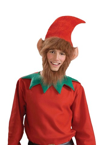 Elf Hat with Ears, Beard and Hair Attached