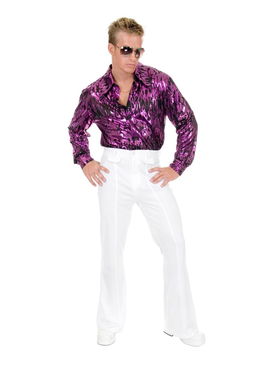 View larger image of Flame Hologram Mens Disco Shirt (Purple)